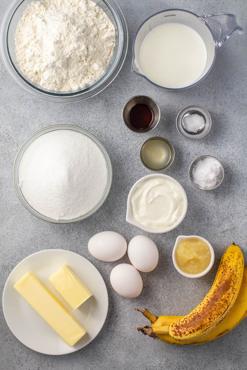 Ingredients for a banana cake.