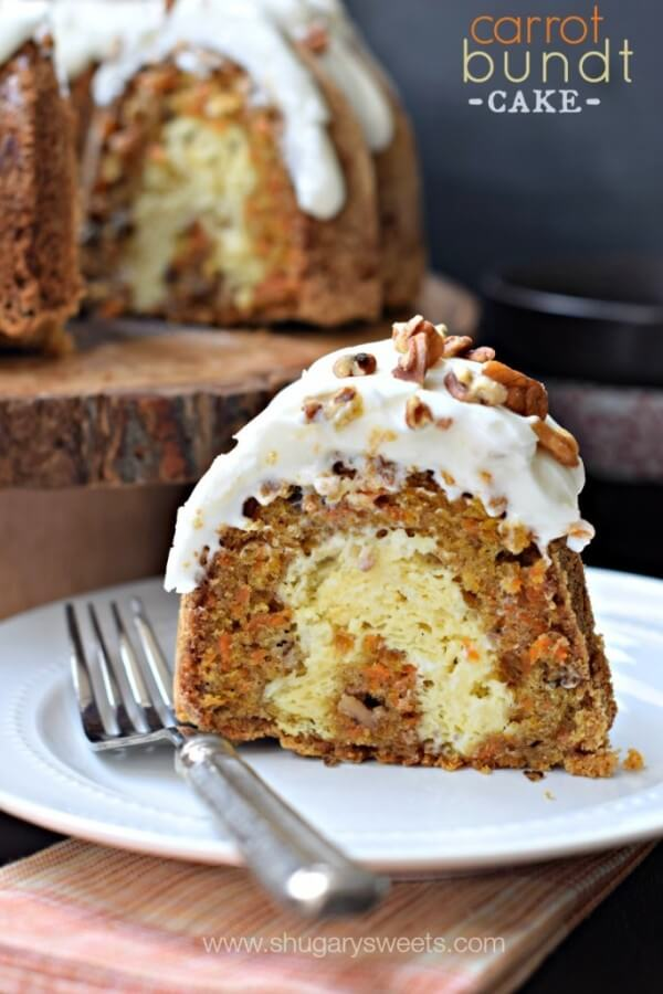 A Slice of Carrot Cake Bundt Cake on a Plate with a Fork