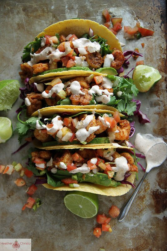Four Chipotle Shrimp Tacos with Limes