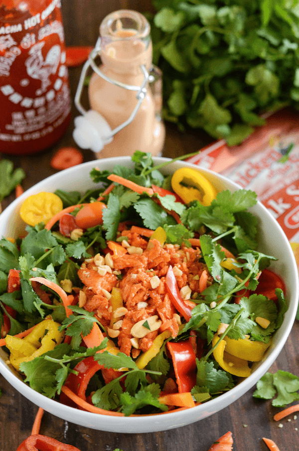 Spicy Thai Salmon Chopped Salad with a Sriracha Peanut Dressing!