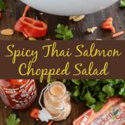 Spicy Thai Salmon Chopped Salad with a Sriracha Peanut Dressing in a white bowl