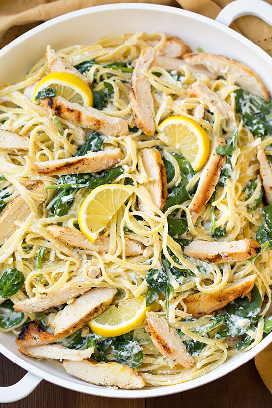 A Bowl of Lemon Ricotta Parmesan Spinach Pasta with Grilled Chicken