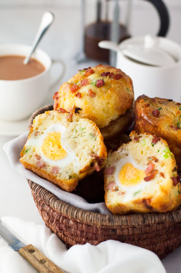 Bacon and Egg Breakfast Muffins in a Basket