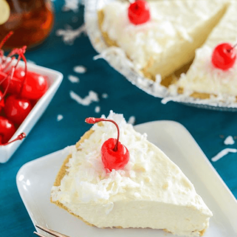 A Slice of Boozy Piña Colada No-Bake Pie