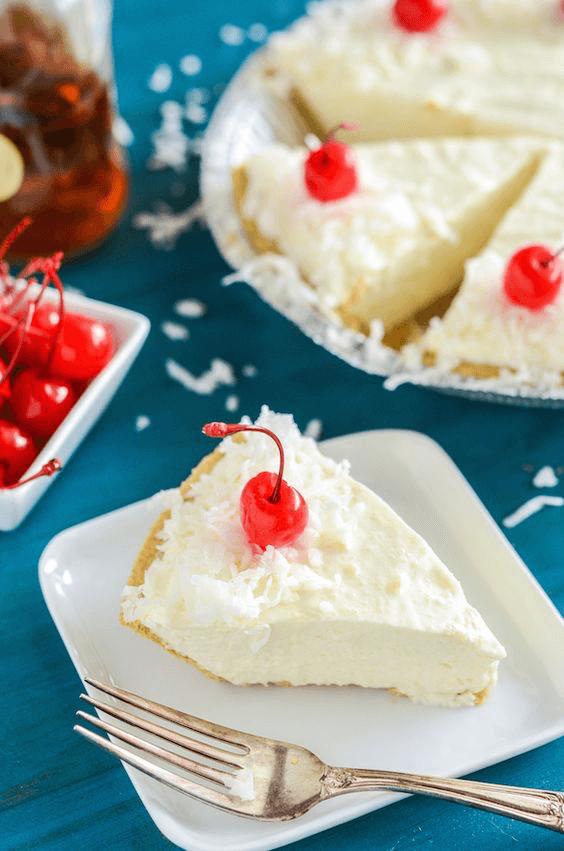 A Slice of Boozy Piña Colada No-Bake Pie