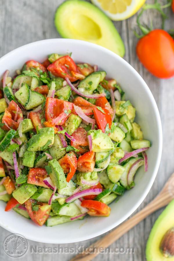 A Big Bowl of Cucumber Tomato Avocado Salad