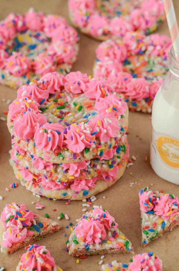 Funfetti Cookies with Cake Batter Frosting