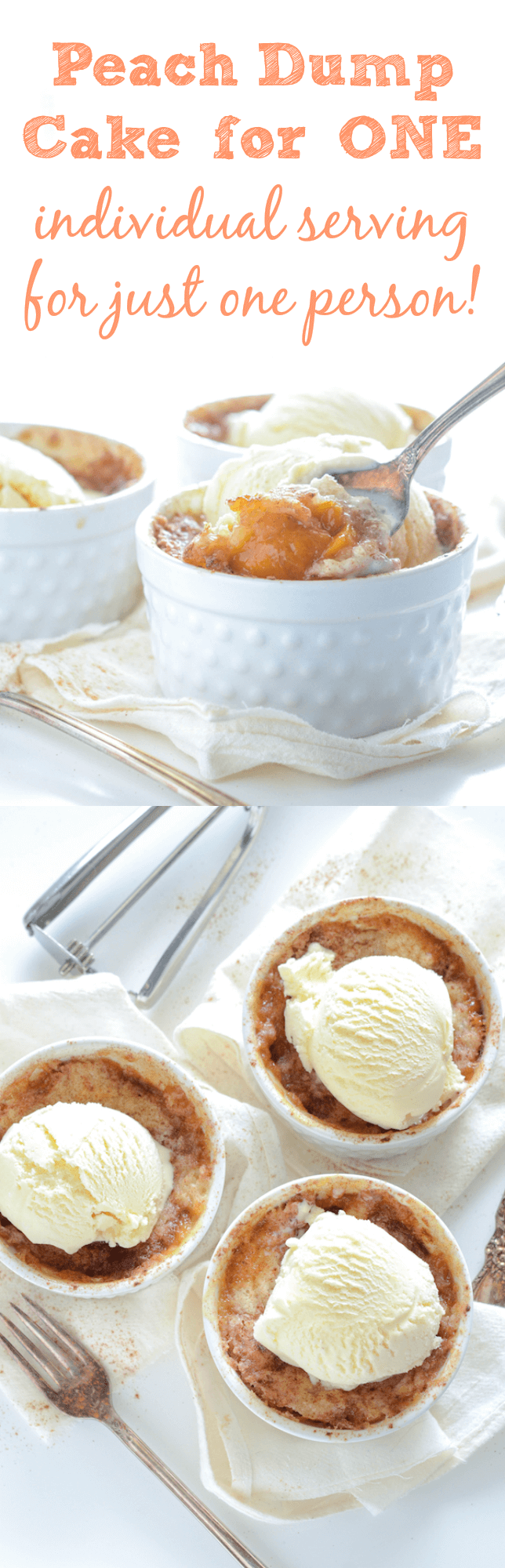 Peach Dump Cake For One! Perfect peach dump cake that you can make for one person - or for six!