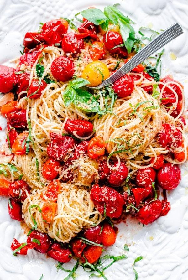 Spaghettini With Roasted Tomatoes Basil And Crispy Breadcrumbs