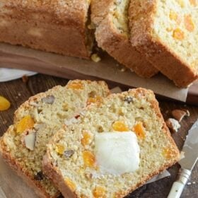 Apricot Pecan Bread! Easy buttermilk quick bread loaded with pecans, dried apricots and orange zest!