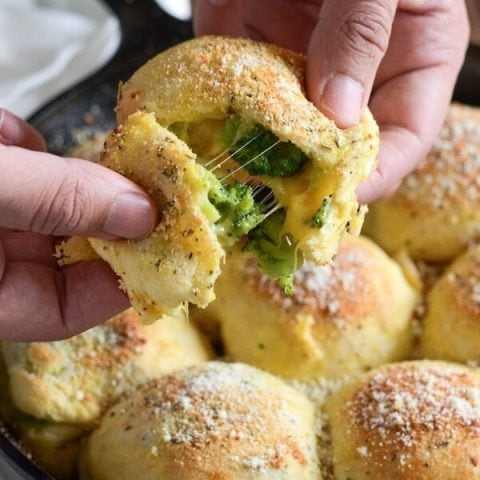 Broccoli Cheese Bombs - Biscuit dough is stuffed with broccoli and cheese