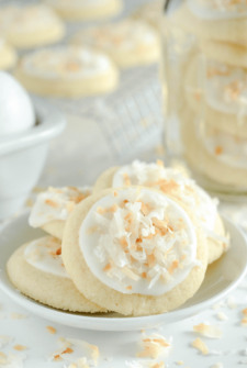 Toasted Coconut Meltaway Cookies on a white plate