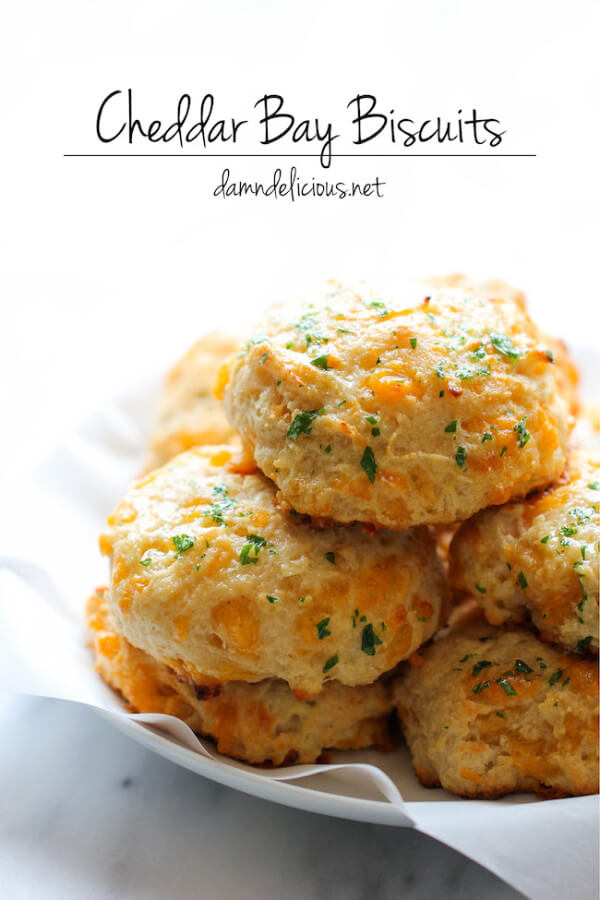 A Pile of Copycat Red Lobster Cheddar Bay Biscuits on a Plate