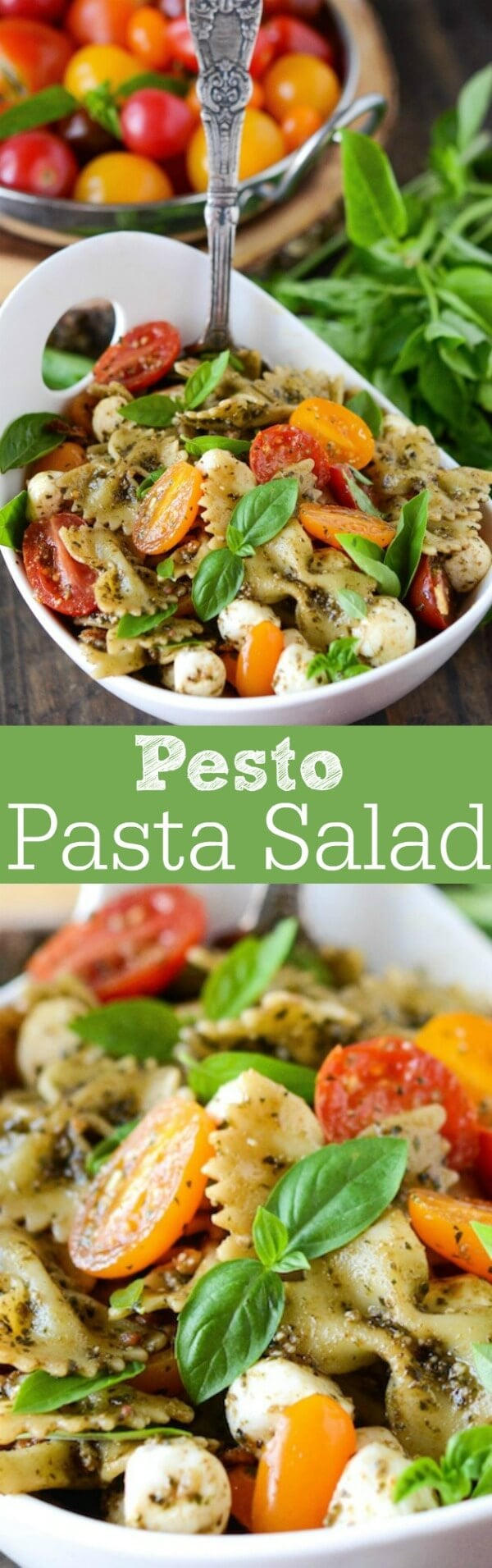 Pesto Bacon Pasta Salad! Bowtie pasta in a basil pesto sauce, tossed with bacon, fresh mozzarella and cherry tomatoes!