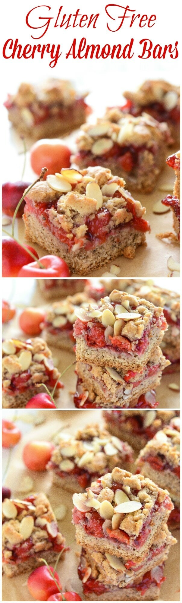 Gluten Free Cherry Almond Bars photo collage