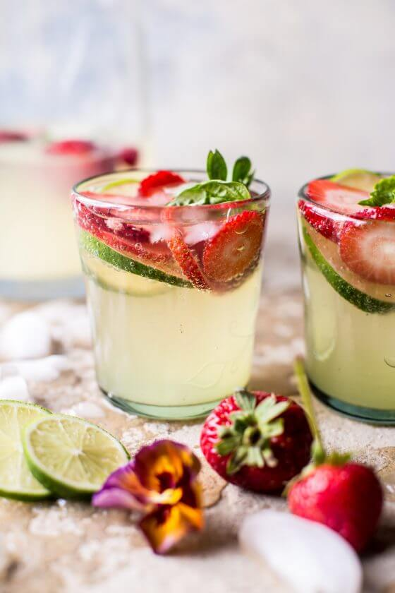 A Margarita Sangria with Limes and Strawberries