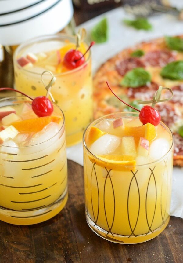 Three Glasses of Sparkling Autumn Spiced Sangria