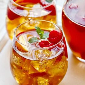 A Glass of Sweet Tea Sangria with Ice