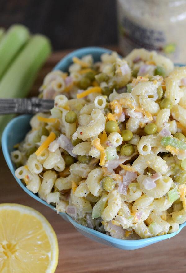 Kerri's Tuna Pasta Salad in a Blue Bowl