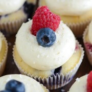Razzleberry Cupcakes - Raspberry and Blueberry Cupcakes with fluffy cream cheese frosting!