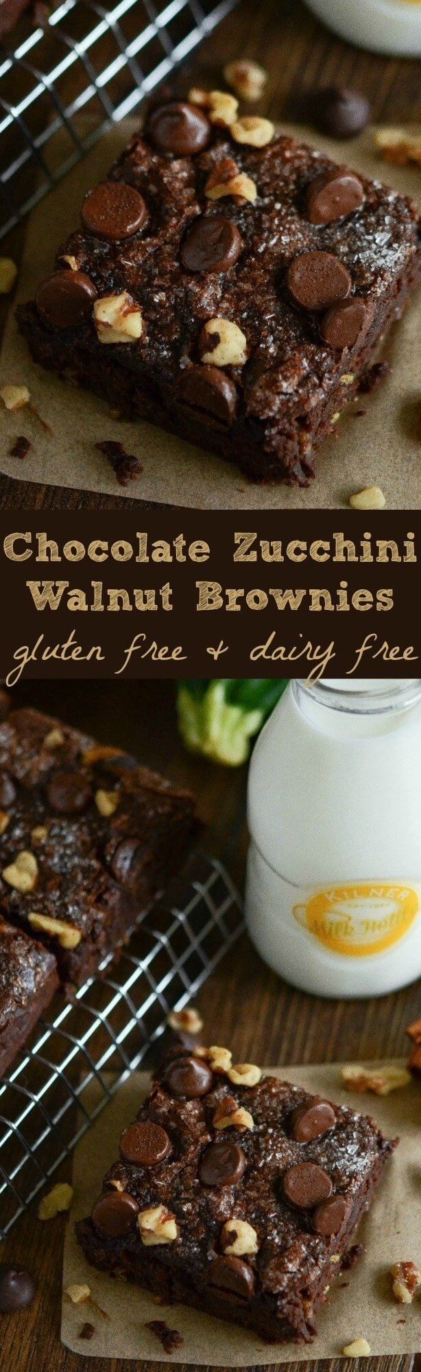 Chocolate Zucchini Walnut Brownies - rich dark chocolate brownies filled with zucchini, cinnamon and walnuts are gluten free and diary free!