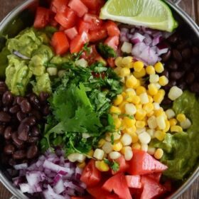 Fully Loaded Guacamole - with corn, black beans, cilantro and more!