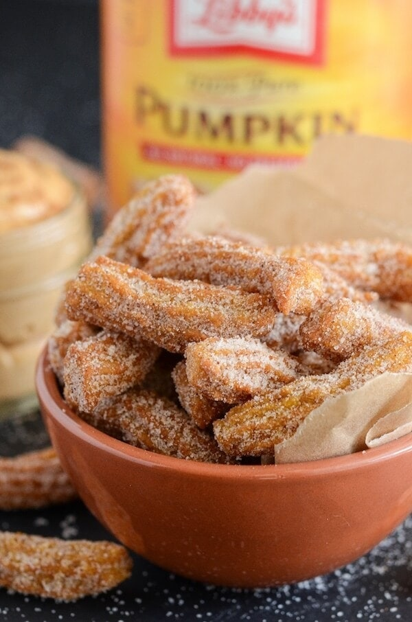 Pumpkin churros with cinnamon sugar coating.