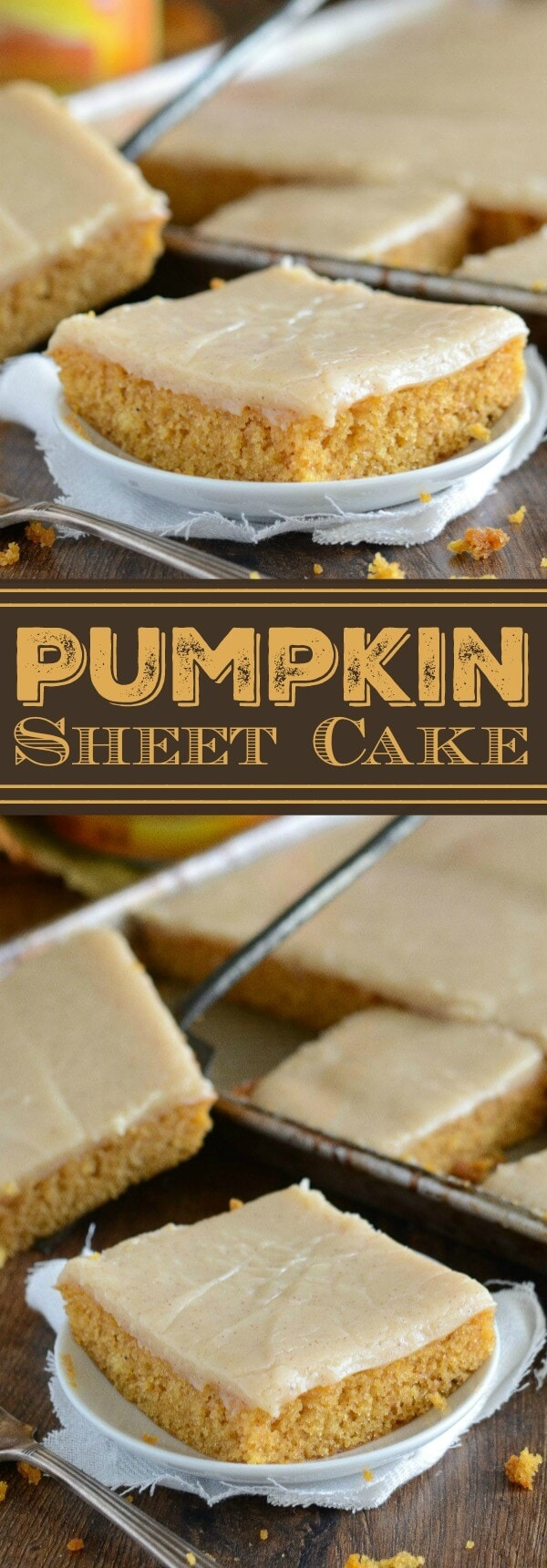 Pumpkin Sheet Cake: this easy homemade spiced pumpkin sheet cake is made in just 30 minutes and frosted with a creamy cinnamon cream cheese icing! #pumpkin #cake #fallrecipes #pumpkindessert