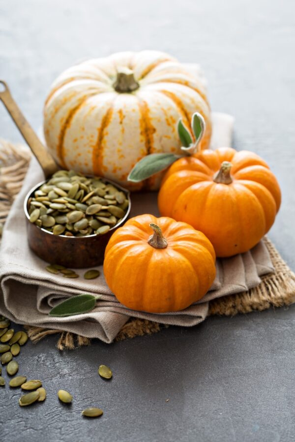 Pumpkins and pumpkin seeds.