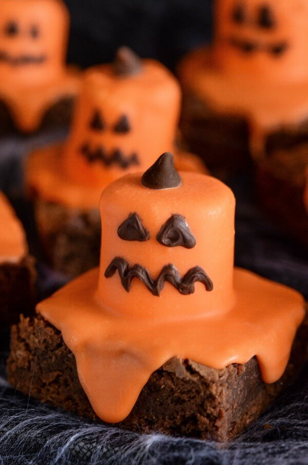 A Close-Up Shot of a Jack O' Lantern Brownie with a Squiggly Mouth