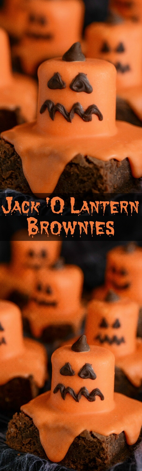 A Collage of Two Images of Halloween Pumpkin Brownies
