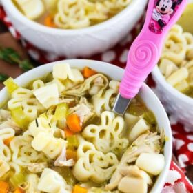 Mickey Mouse Chicken Noodle Soup! Classic chicken noodle soup is given a fun spin with Mickey Mouse noodles.