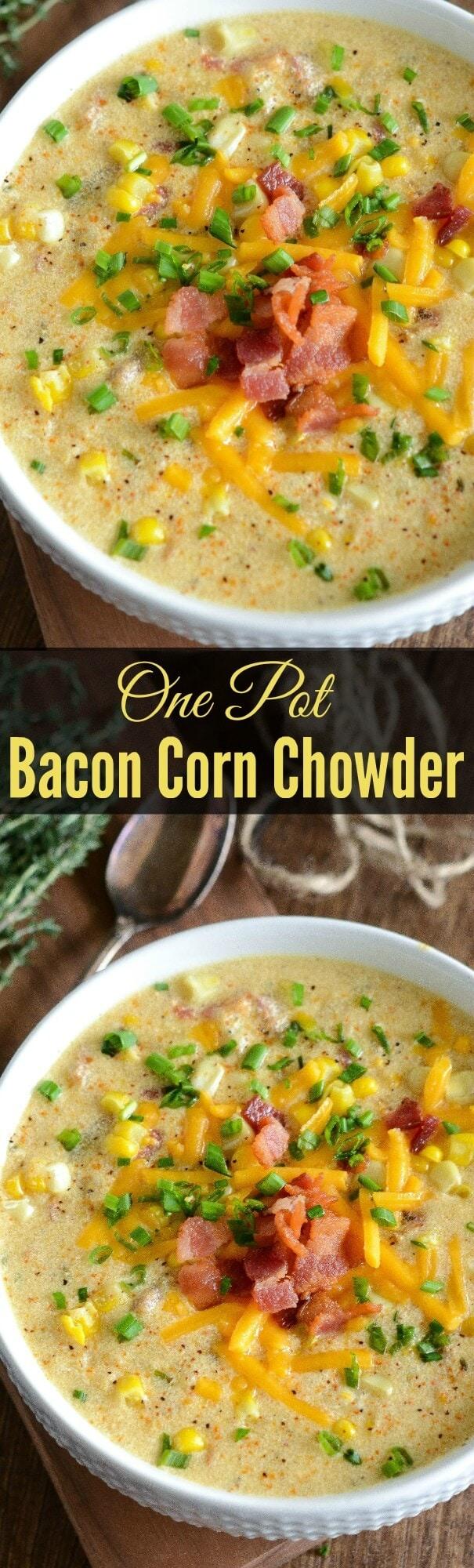 One Pot Bacon Corn Chowder!