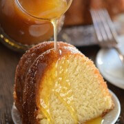 Almond Amaretto Pound Cake - A dense, moist poundcake flavored with almond and amaretto liquor topped with a warm buttery amaretto sauce.