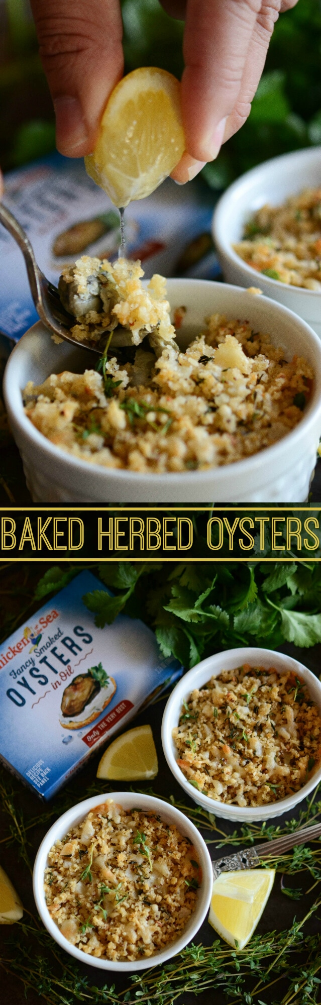 Baked Herbed Oysters with a crispy parmesan breadcrumb topping!