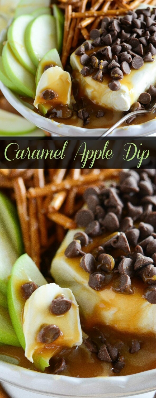 Warm Caramel Apple Dip! Only 4 ingredients to make this delicious sweet dip that will remind you of a chocolate caramel apple.