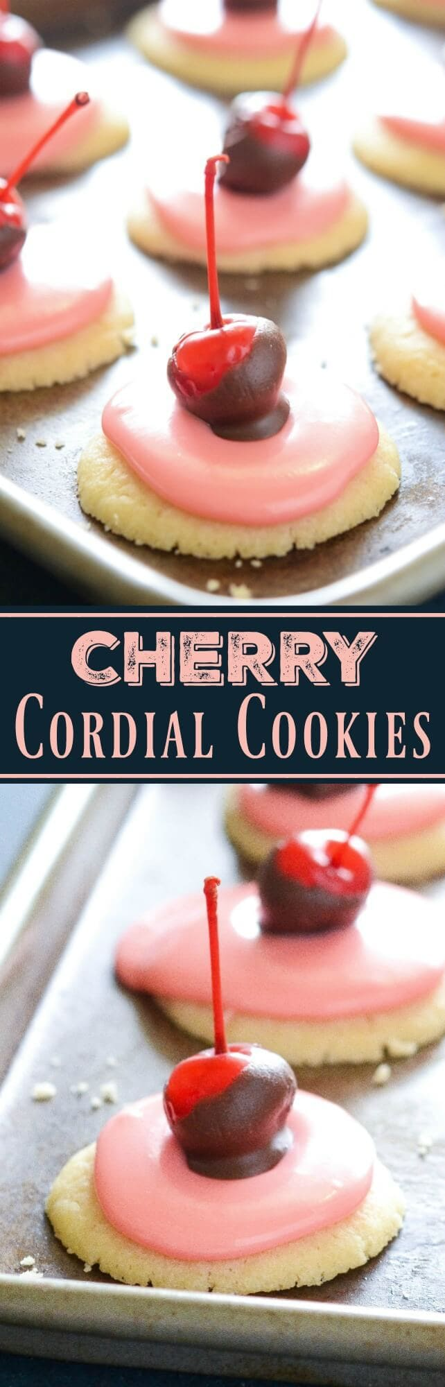 Cherry Cordial Cookies: these intricate looking cookies are surprisingly easy to make. You start with a soft shortbread cookie base, spread them with a creamy cherry cordial icing and top them with a chocolate cherry.