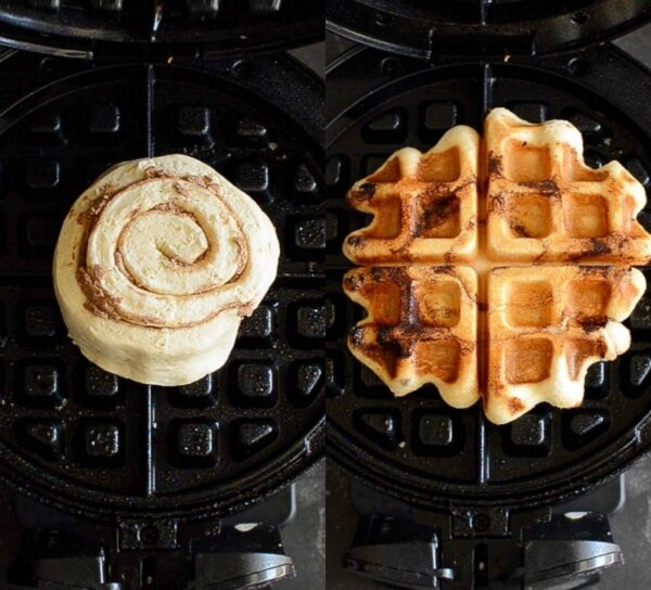 Raw cinnamon roll in waffle iron and cooked cinnamon roll waffle.