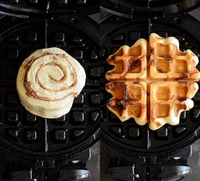 A Raw Cinnamon Roll in a Waffle Iron Beside a Freshly Pressed Cinnamon Roll Waffle