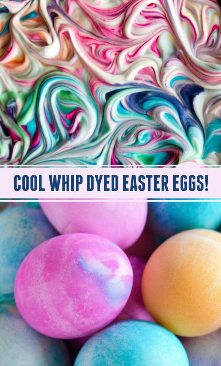How to use Cool Whip or Shaving Cream to dye Easter Eggs, giving the eggs a unique watercolor look! My kids LOVE to dye eggs this way! #Easter #EasterEggs #CoolWhip #ShavingCream #CoolWhipEasterEggs #DyedEasterEggs