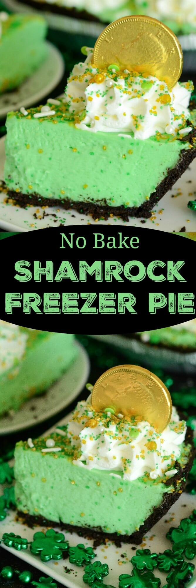 No Bake Shamrock Freezer Pie! Just a few ingredients to make this delicious mint pie for St. Patricks Day!
