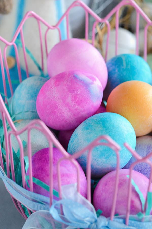 Watercolor Easter Eggs! Easter eggs are dyed using shaving cream and gel food color to create beautiful swirls of color!