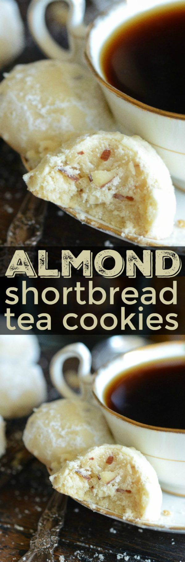 An Almond Shortbread Tea Cookie with a Bite Taken Out to Show the Inside