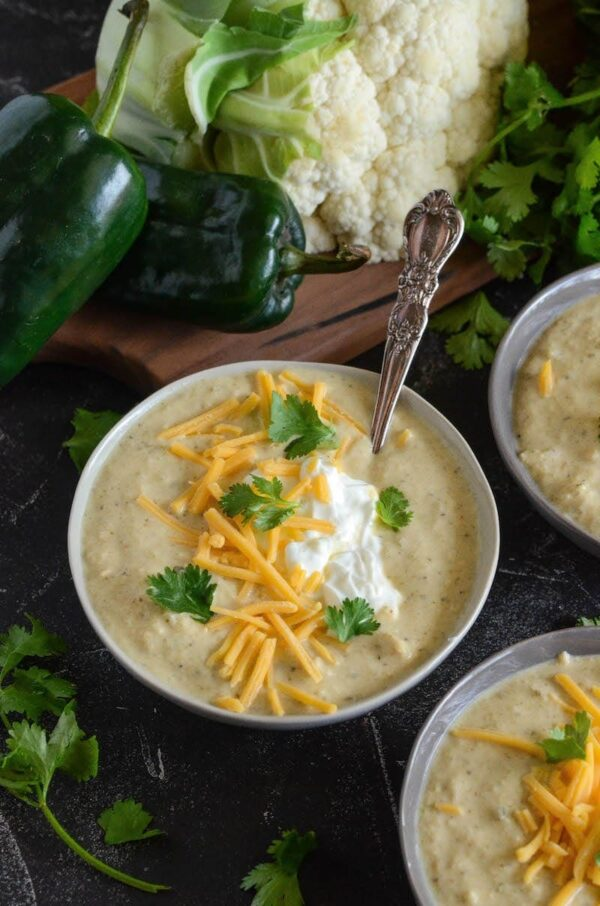 Roasted Poblano Chicken Cauliflower Soup