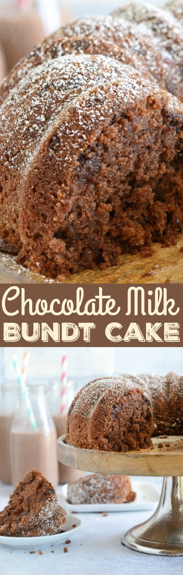 Chocolate Milk Bundt Cake: a sweet, moist homemade chocolate cake that is loaded with chocolate milk and chocolate chips to create the best bundt cake ever!
