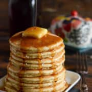 Low Carb Pancakes: these gluten free, low carb pancakes, made with almond flour, are a delicious family approved breakfast when topped with butter and syrup!