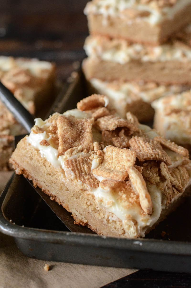 A Close-Up Shot of a Cinnamon French Toast Crunch Bar on a Baking Sheet