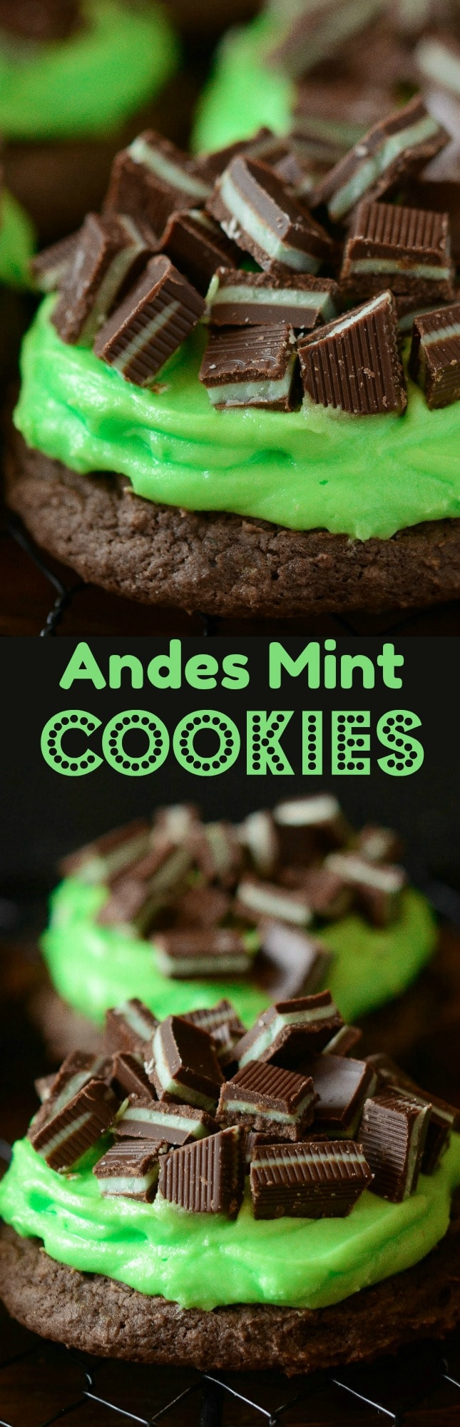 ANDES MINT COOKIES: soft dark chocolate cookies are frosted with mint buttercream frosting and topped with Andes Mints to create the best mint cookie, ever!