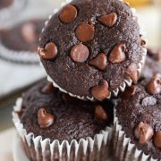 Banana Mocha Chip Muffins: these one-bowl double chocolate banana muffins are loaded with three whole bananas, a ton of chocolate chips and espresso flavor.