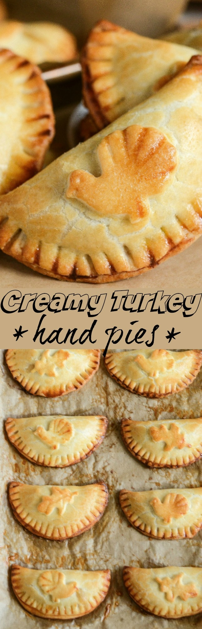 Creamy Turkey Hand Pies: warm flaky turnovers are stuffed with a delicious turkey filling made with herbs, gravy and onion and then baked until golden brown!